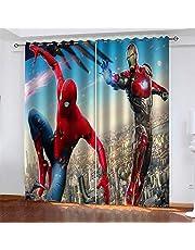 Gordijnen Blackout Spiderman Iron Man Geïsoleerde Gordijnen Oogje Gedrukt Gordijnen Potlood Plooi Polyester Microvezel Kinderkeuken Woonkamer Slaapkamer 140x250cm x 2 stks