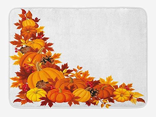 Pumpkin Bath Mat, Autumn Leaves and Fruits on Fall Season Arrangement Pine Cone Cranberries, Plush Bathroom Decor Mat with Non Slip Backing, 23.6 W X 15.7 W Inches, Orange Brown Yellow