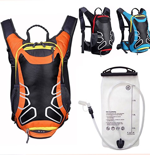 Waterproof Hydration Backpack Superior Quality w LEAK PROOF 2L BPA Free TPU Water Bladder, Silicone Bite Tip & Shut Off Valve -Back Pack for Men, Women, Hiking, Running, Cycling,Camping,Outdoor Sports