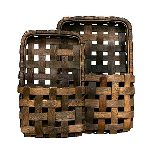 (CWI Gifts Brown Tobacco Wall Pocket Baskets 2/Set, Multi)