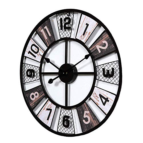 BSWOME 24in Vintage Silent Wall Clock Retro Rustic Windmill Decor Large Wall Clock for Decorated Living Room, Kitchen, Bedroom (Rooms Country Living Decorated)