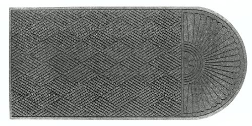 (M+A Matting 2248 Grey Ash PET Polyester WaterHog ECO Grand Premier Entrance Mat, Half Oval One End, 5.9' Length x 4' Width, For Indoor/Outdoor)
