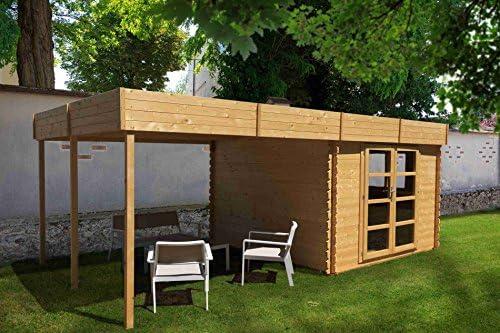 & Chalet jardin-Invernadero de jardín bois-pérgola 18m2-28 mm, color azul: Amazon.es: Jardín