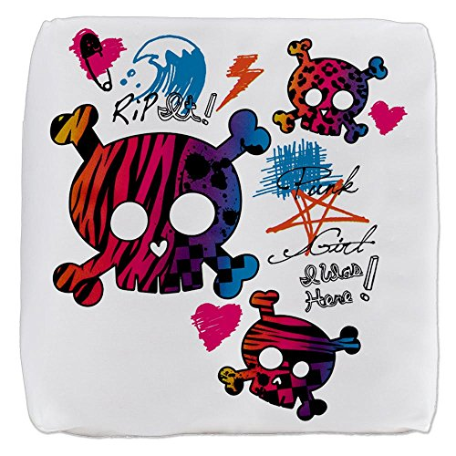 (13 Inch 6-Sided Cube Ottoman Punk Girl Skulls Peace Symbol)