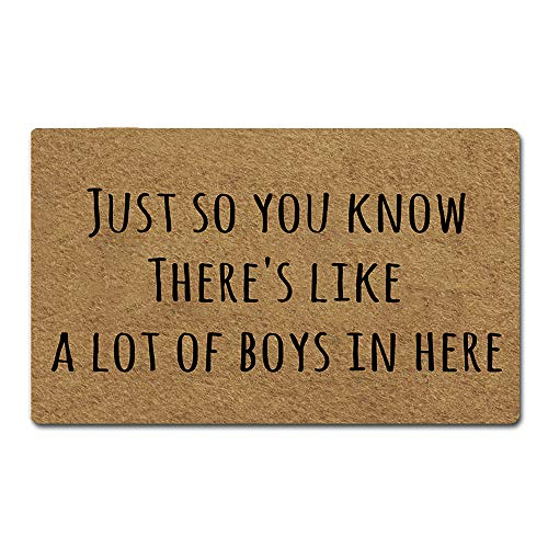 Artsbaba Welcome Mat Just So You Know There's Like A Lot of Boys in Here Door Mat Rubber Non-Slip Entrance Rug Floor Mat Balcony Mat Funny Home Decor Indoor Doormat 30 x 18 Inches, 3/16