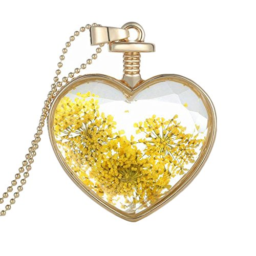 Topbeu Romantic Heart Shape Crystal Glass Dried Flower Pendant Necklace for Women (Yellow)