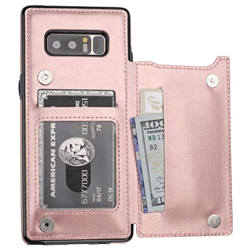 Note 8 Case Wallet with Card Holder, Vaburs Premium PU Leather Double Magnetic Buttons Flip Shockproof Protective Cover for Samsung Galaxy Note 8(Rose Gold)