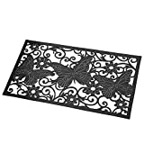 Collections Etc Decorative Butterfly Scroll Heavy Duty Rubber Skid-Resistant Door Mat, Black