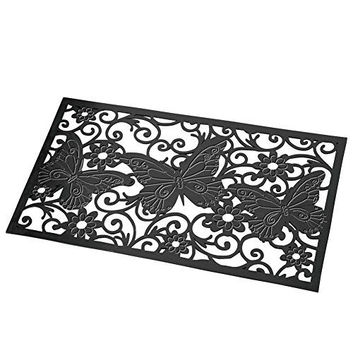 Butterfly Garden Rug (Collections Etc Decorative Butterfly Scroll Heavy Duty Rubber Skid-Resistant Door Mat, Black)