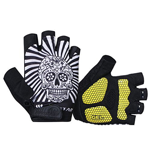 (JPOJPO Cycling Gloves Half Finger Anti Slip Gel Pad Breathable Men Women Skull M)