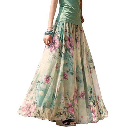 Celltronic Fashion Women Floral Print Beach Dress Long Maxi Pleated Skirt(M)