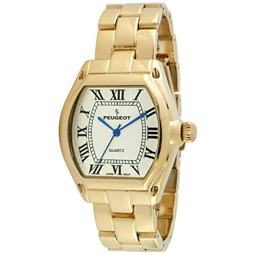 14k Ladies Watch - Peugeot Women's 14K Gold Plated Tank Roman Numeral Dress Bracelet Watch 7069G