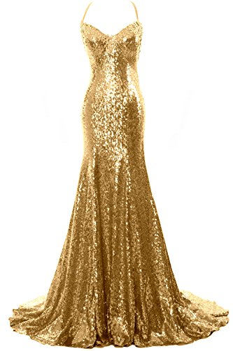 Mermaid Sequin Gown Sexy Women Prom Neck Wedding MACloth Gown Party V Gold Formal fqxOg5E