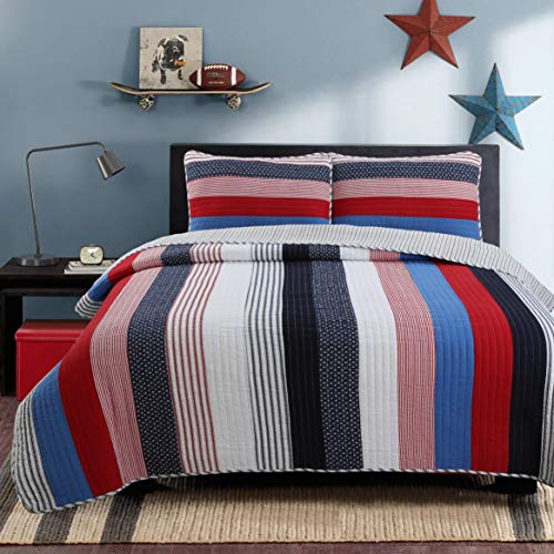 (Cozy Line Home Fashions Derek Blue Red Navy White Star Striped 100% Cotton Quilt Bedding Set, Reversible Coverlet, Bedspread Set (Axel Stripe, Queen -3 Piece))