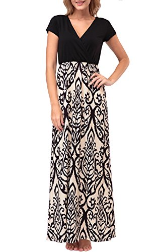 Zattcas Womens Summer Contrast V neck Empire Waist Floral Print Maxi Dress (Large, Taupe) - Maxi Dresses For Women For Church