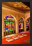 Stained Glass Windows of Fort Palace, Jodhpur at Fort Mehrangarh, Rajasthan, India by Bill Bachmann / Danita Delimont Framed Art Print Wall Picture, Espresso Brown Frame, 21 x 30 inches
