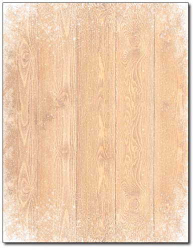Barnyard Snowflake Wood Style Stationery - 80 Sheets - For Christmas, New Years, and Winter ()