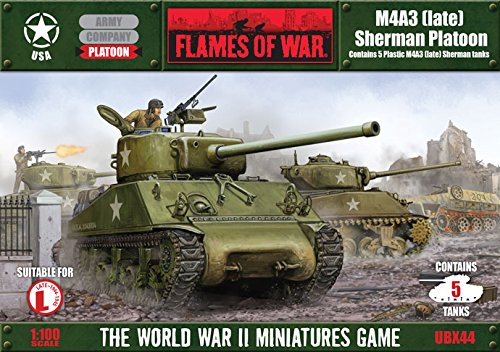 (Flames Of War Usa M4a3 (late) Sherman Platoon (5 Tanks, Plastic, Late War,)