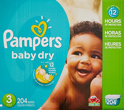 Pampers Baby Dry couches Economy Pack Plus, taille 3, 204 comte