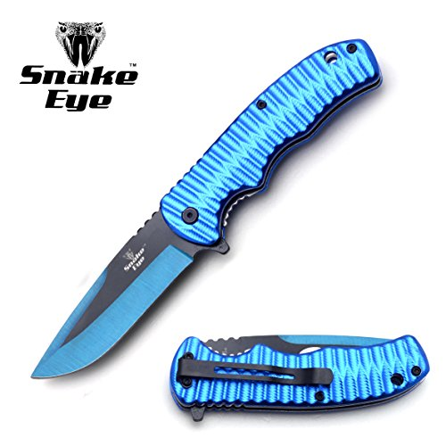 Snake Eye Tactical Red Two Toned Blade Action Assist Folding Knife (BLUE) (Action Knife Pocket)