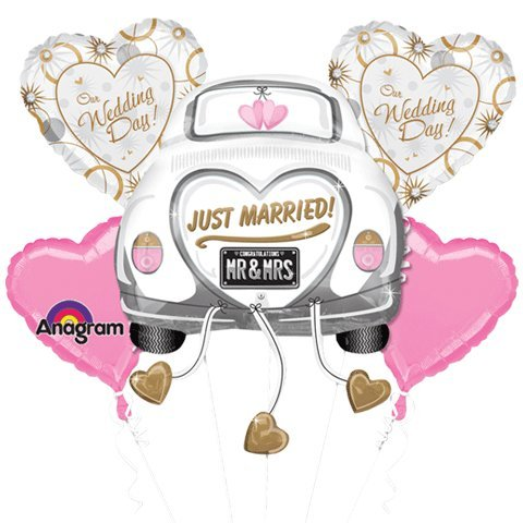 Just Married Wedding Car Mylar Foil Balloon Bouquet Set Decorate Just Married Car