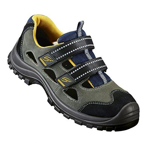 Stahlkappensandale Sicherheitsandale Fynn 2 Sandale S1 grau-gelb-blau - Größe 38