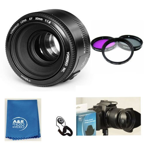 Yongnuo EF 50mm F1.8 Standard Prime Lens Kit for Canon Rebel DSLR Camera With set of 3 filters, case, hood, cleaning cloth and USA warranty. by Yongnuo
