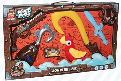 PowerTRC Pretend Pirate Glow in The Dark Playset with Gun, Hooks, Parrot, and Sword ()