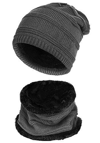 Beaii Sombrero de punto de calentamiento para hombres con forro polar Bufanda Gris