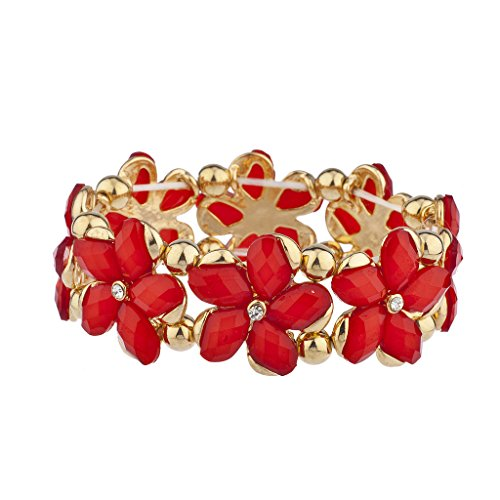 Lux Accessories Red Goldtone Flower Floral Stretch Bracelet