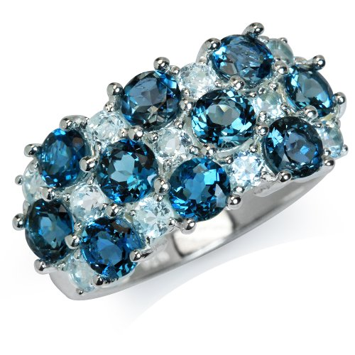 Silvershake 2.9ct. Genuine London Blue and Blue Topaz 925 Sterling Silver Cluster Ring
