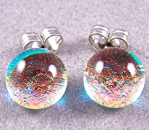 - Tiny DICHROIC Glass Post EARRINGS 1/4