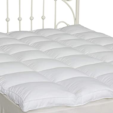SUFUEE King Mattress Topper Down Alternative Overfilled 2  Thick Pillow Top Mattress Cover Soft Fluffy and Warm Hotel Quality (76  x80'')