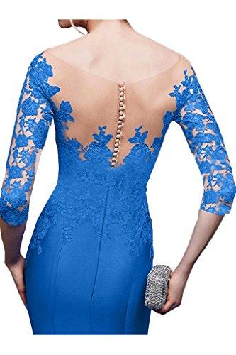 ivyd ressing Mujer Fashion Media aermel Punta & Satén Mermaid Prom vestido fijo para vestido de noche Azul