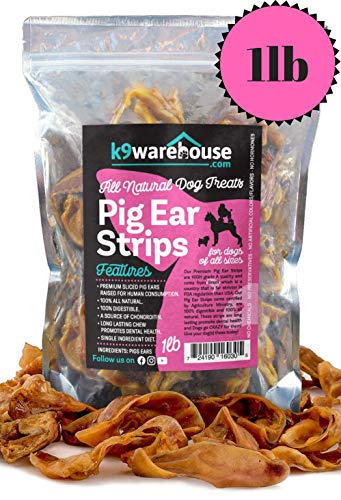 PIG SLIVERS FOR DOGS | One - Two Pound All Natural Pigs Ear Strips Dog Chew Treats | Made of 100% Pure Pork | Best Alternative to Rawhide Chews | Thick Cut Treat for Small, Medium and Large Dogs
