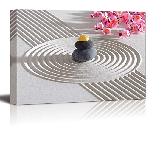 wall26 - Canvas Prints Wall Art - Japanese Zen Garden with Stacked Stones | Modern Wall Decor/Home Decoration Stretched Gallery Canvas Wrap Giclee Print. Ready to Hang - 12