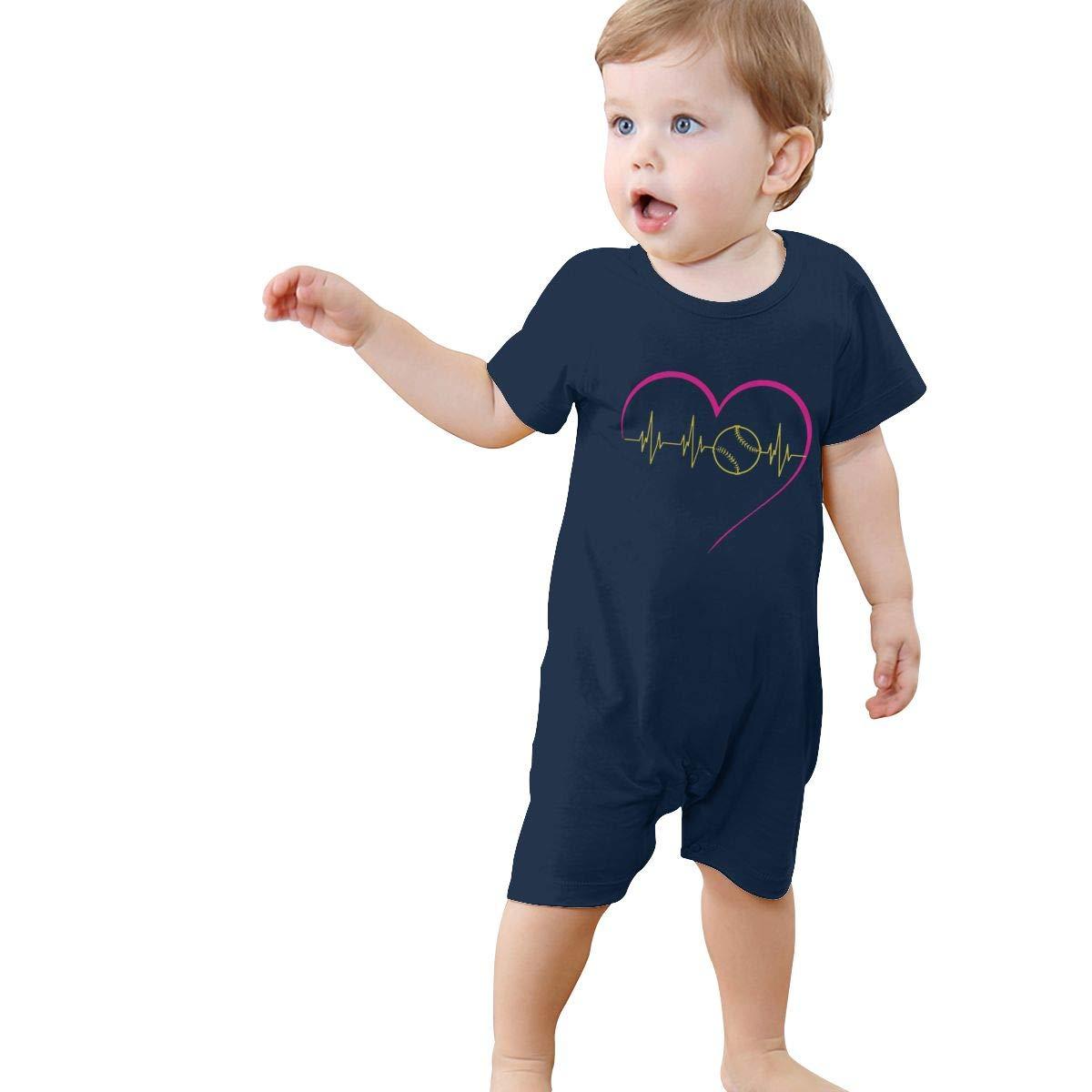 Softball Heartbeat Toddler Baby Short Sleeve Romper Jumpsuit Bodysuits 0-24 Months
