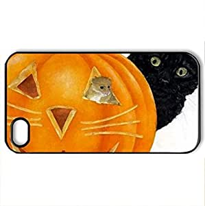 Anne Mortimer - Case Cover for iPhone 4 and 4s (Cats Series, Watercolor style, Black)