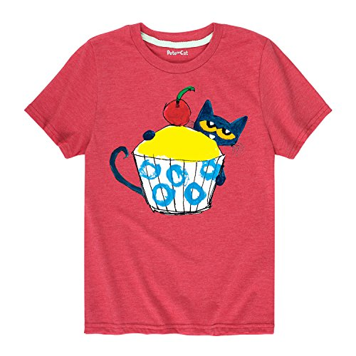 Pete the Cat with Big Cupcake - Toddler Short Sleeve Tee Heather Red