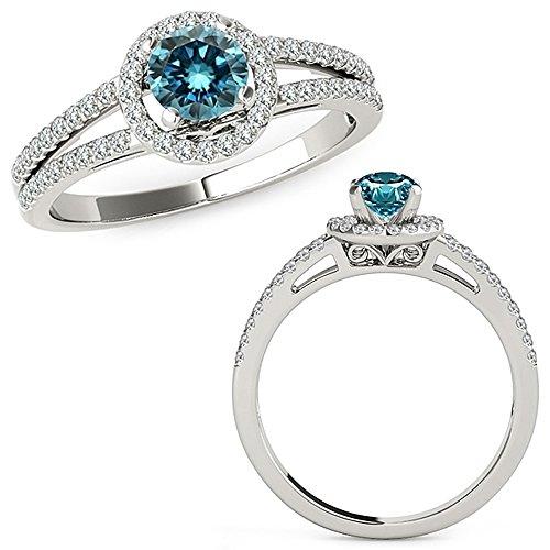 1.07 Carat Blue Diamond Love Designer Beautiful Halo Anniversary Promise Women Band Ring 14K White Gold ()