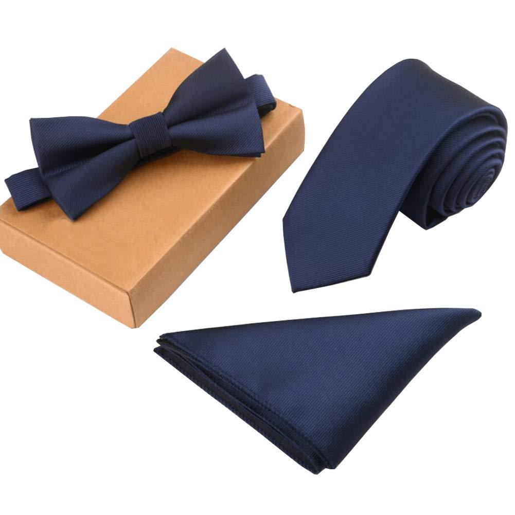 Lanburch Fashionable Premium Formal/Informal Ties Set, Necktie/Bow Tie/Pocket Square for Mens/Boys, Navy Blue