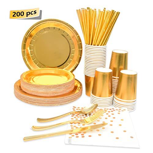 200 Pcs Disposable Paper Plates Gold Party Supplies -Party Tableware Plastic Knives Spoons Forks Foil Paper Plates…