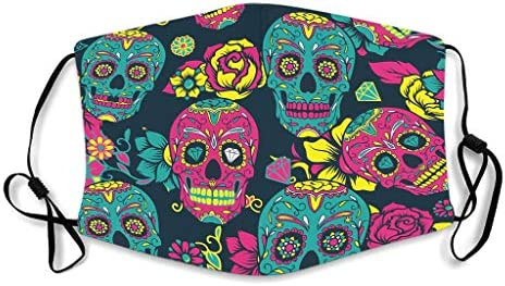 Skull Printed Facial Comfortable and Breathable Earloop Face Cover for Skiing Theme
