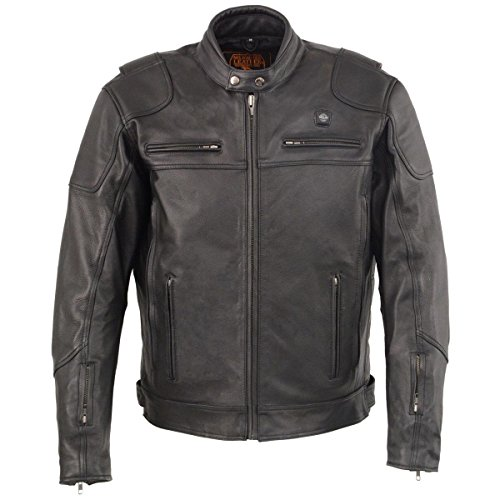 Milwaukee Leather Mens Heated Vented Scooter Jacket with Gun Pocket - X-Large
