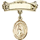 Gold Filled Baby Badge with St. Juan Diego Charm and Arched Polished Badge Pin 7/8 X 3/4 inches