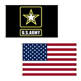 Cheap SSK USA + US Army Outdoor Flag Combo Pack – 2 Great Flags for 1 Great Price! Large 3′ x 5′, Weather-Resistant Polyester