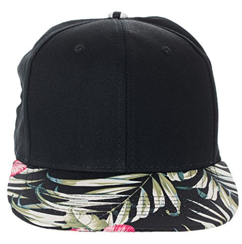 Artisan Owl Floral Pattern Snapback Baseball Caps - Available In Multiple Colors! (Black With Black Floral - Hipster Snapbacks