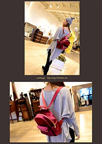 handbag Women Zipper Mini Fashion suede School Girl Gaorui Red Satchel Retro Bag Backpack w6x5ZXWIq