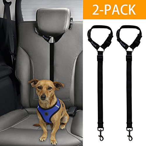 - Bwogue 2 Packs Dog Cat Safety Seat Belt Strap Car Headrest Restraint Adjustable Nylon Fabric Dog Restraints Vehicle Seatbelts Harness