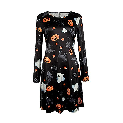 Halloween Projects Printables (Halloween Costume Women Pumpkin Long Sleeve Dress Pleated Cocktail Party)